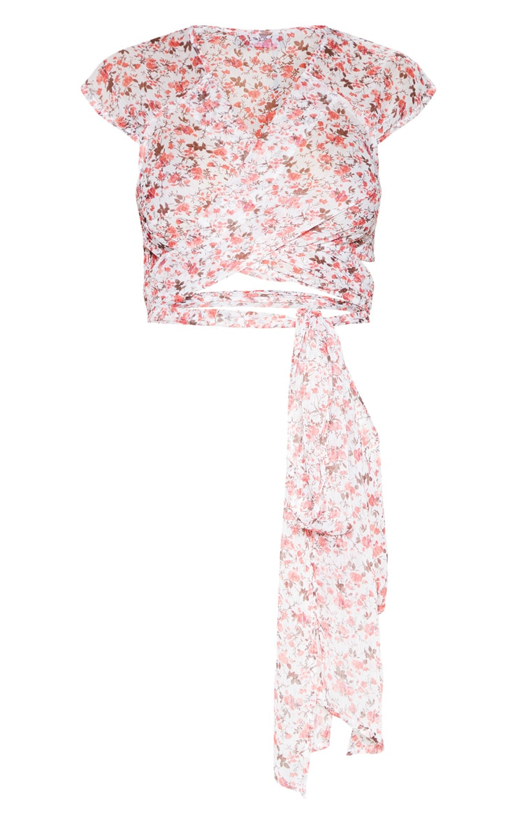 Pink Ditsy Floral Sleeve Wrap Front Crop Top 3