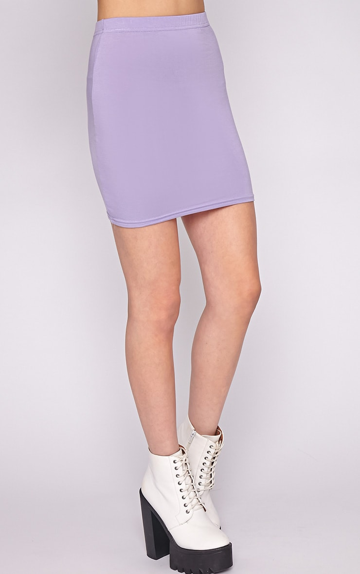 Clarissa Lilac Bodycon Jersey Mini Skirt 5