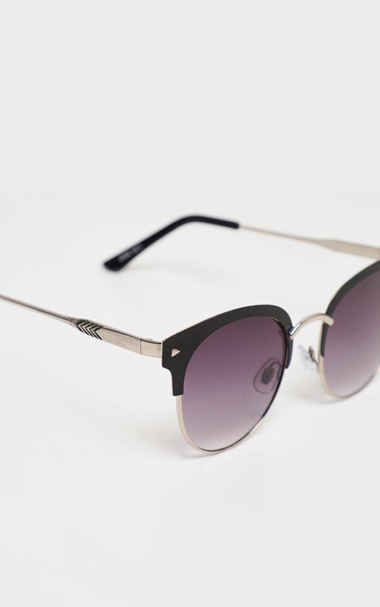 Black Frame Rounded Aviator Sunglasses 3