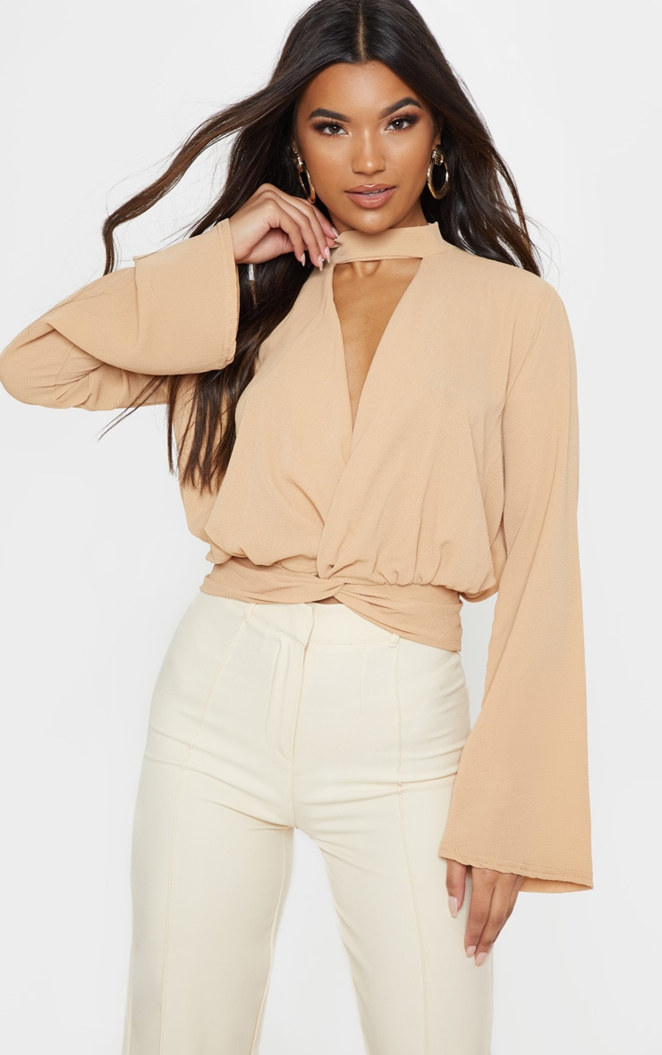 Tan Chiffon Choker Detail Long Sleeve Blouse 1