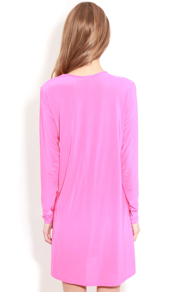 Ellen Fuchsia Long Sleeved Swing Dress  2