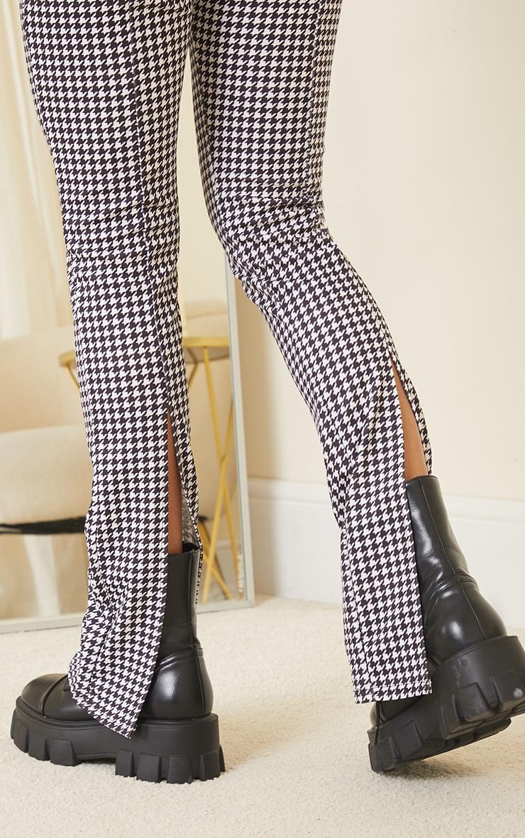 Pantalon skinny imprimé pied-de-poule noir à détail coutures et ourlet fendu derrière 4