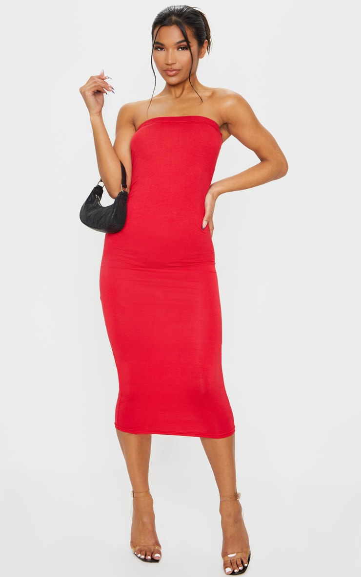 Basic Red Bandeau Midaxi Dress image 1