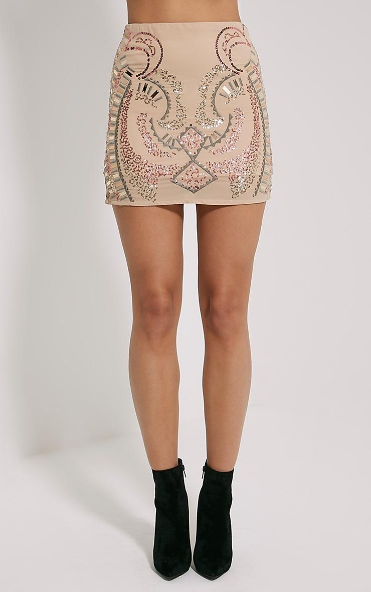 Elsine Blush Sequin Beaded Mini Skirt 2