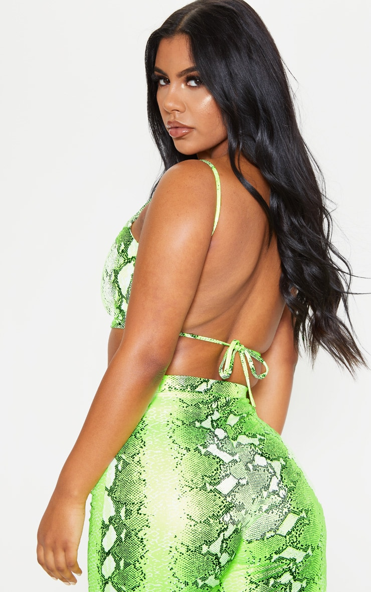Neon Lime Snake Print Strappy Crop Top 2
