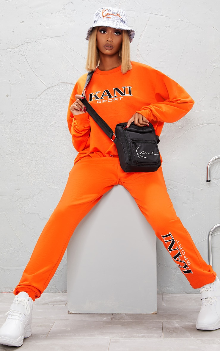 KARL KANI Orange Embroidered Oversized Sweatshirt 2