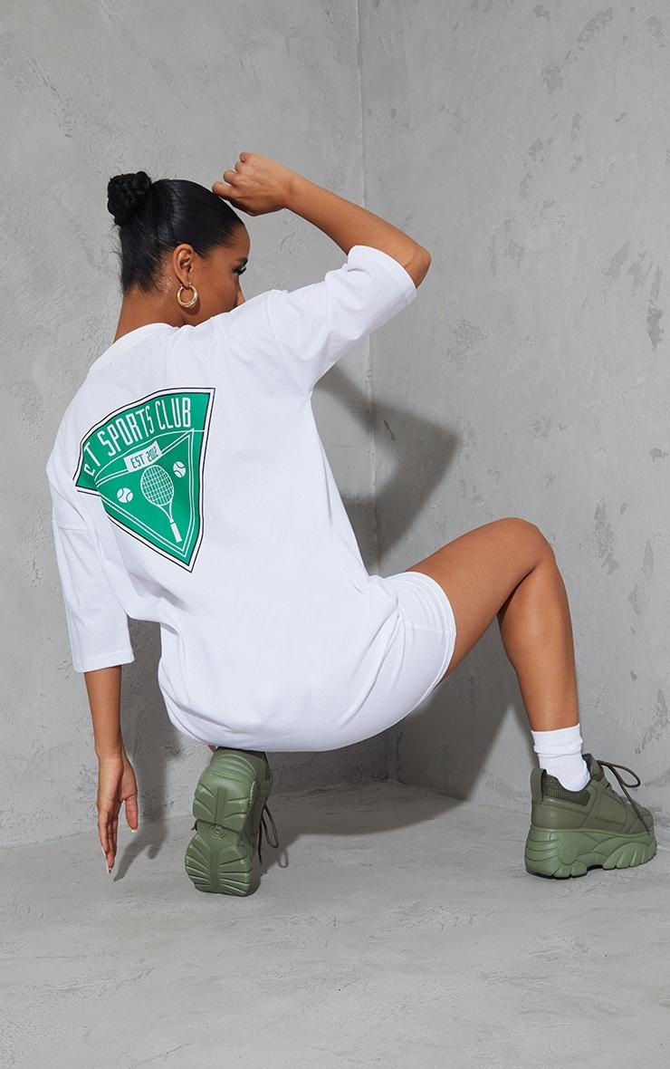 PRETTYLITTLETHING White Graphic Pocket Detail Oversized T Shirt Dress 1