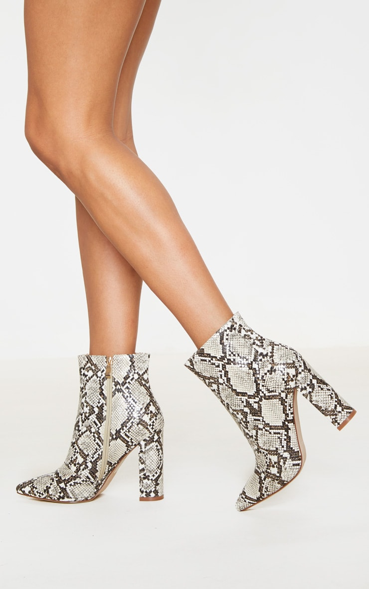 Snake High Block Heel Point Ankle Boot 2