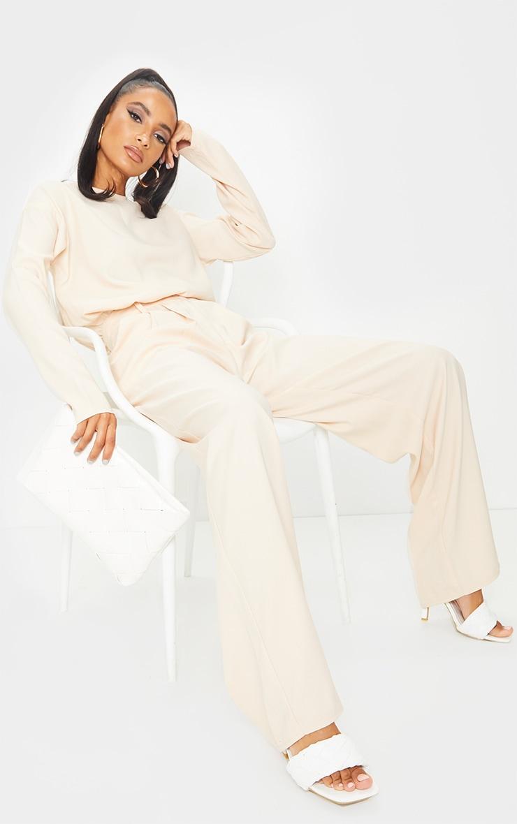 Cream Wide Leg Woven Trousers 1