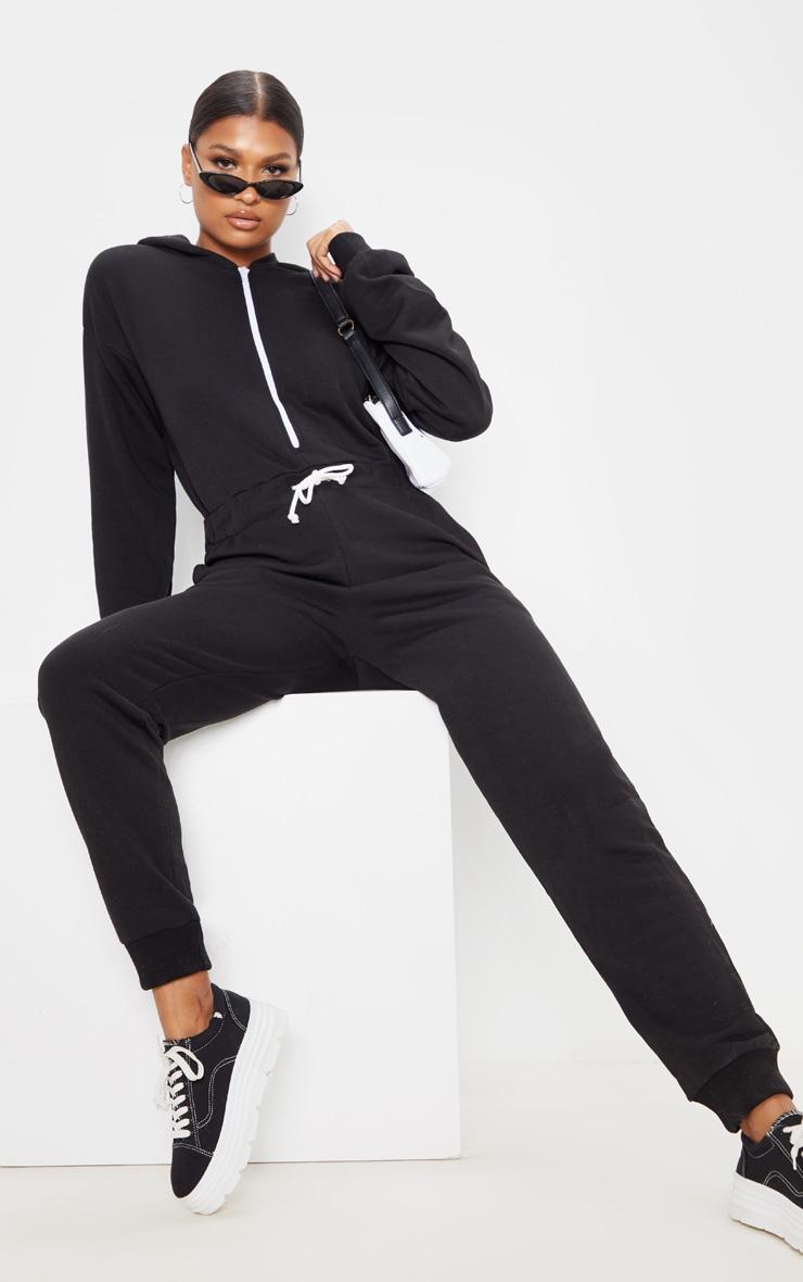 Black Long Sleeve Hooded Sweat Jumpsuit 4