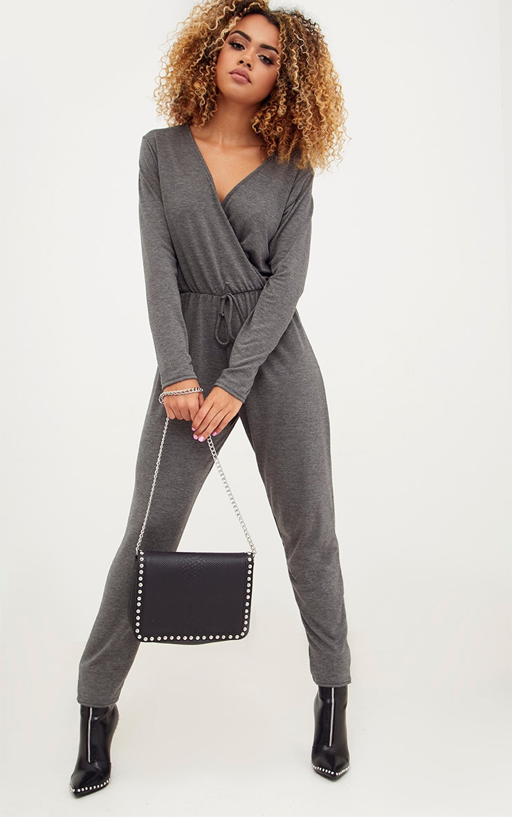 Charcoal Jersey Long Sleeve Wrap Jumpsuit 1