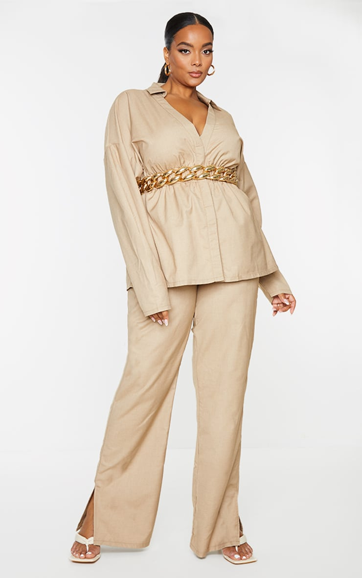 Plus Camel Elasticated Waist Shirt 3