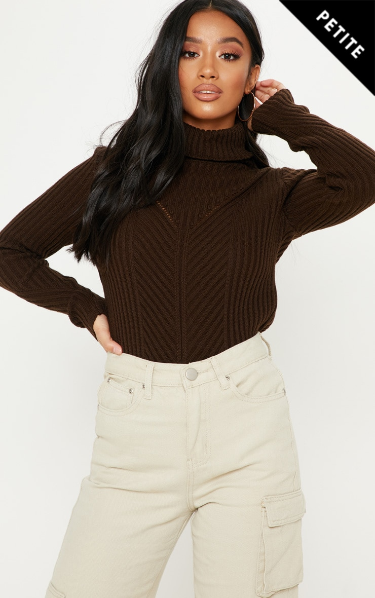 Petite Chocolate Brown High Neck Sweater 1