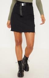 Tall Black High Waisted Denim Skirt 2