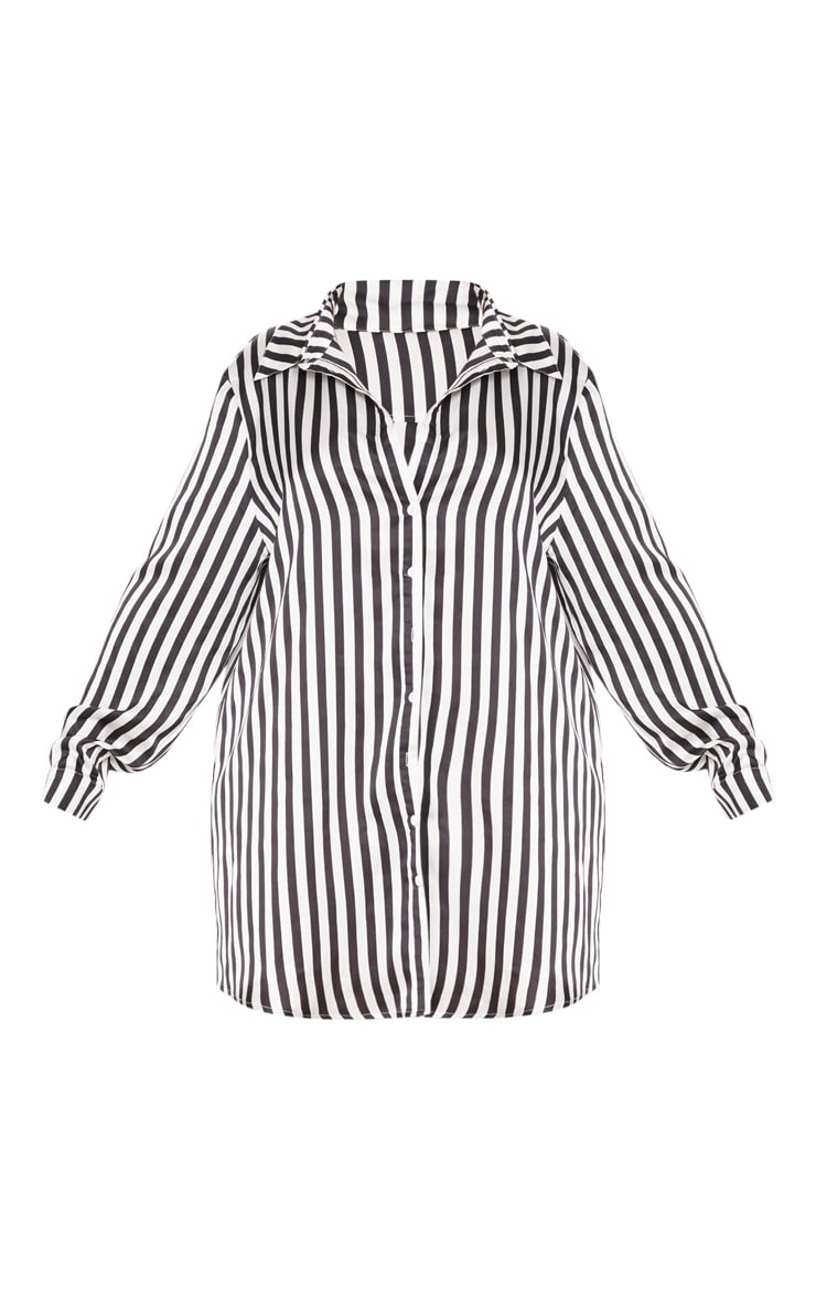 Plus Black Striped Satin Button Front Shirt Dress 3