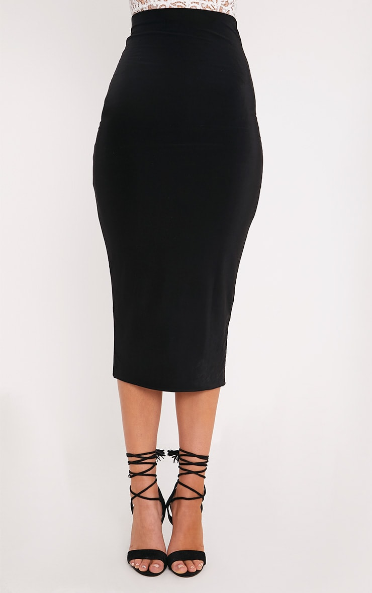 Steffany Black Slinky Long Line Midi Skirt 2
