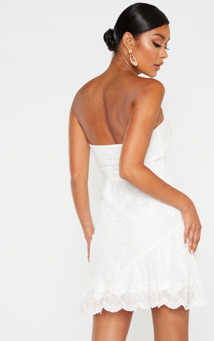 White Broderie Bandeau Skater Dress 2