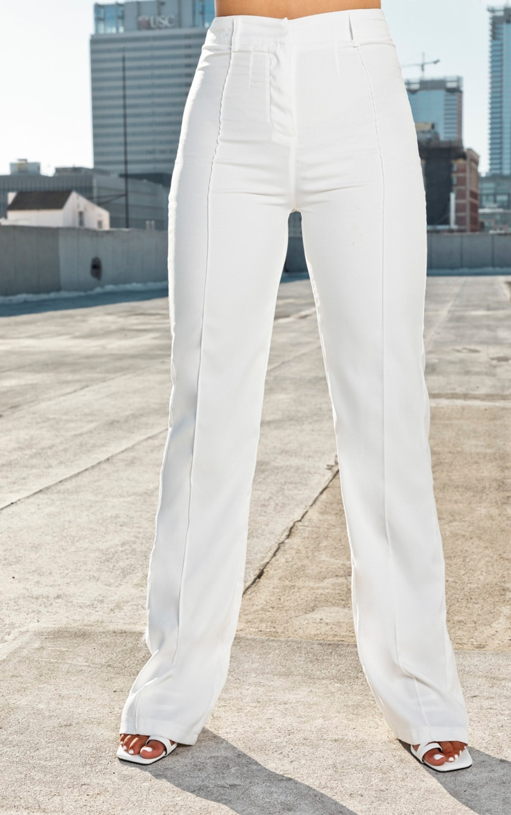 Anala Cream High Waisted Straight Leg Trousers 2