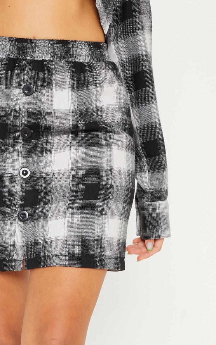 Black Check Button Front Mini Skirt 6