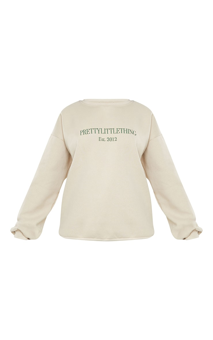 PRETTYLITTLETHING Sand Est 2012 Slogan Embroidered Sweatshirt 5