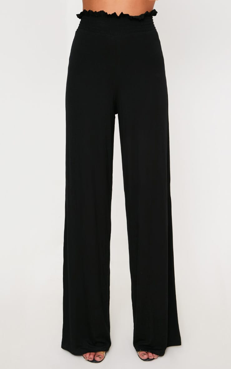 Black Shirred Waist Wide Leg Trousers 2
