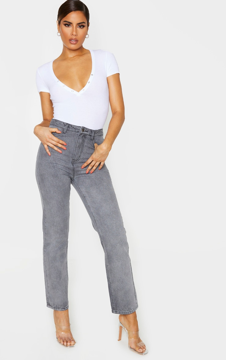 PRETTYLITTLETHING Tall  Grey Straight Leg Jeans 1