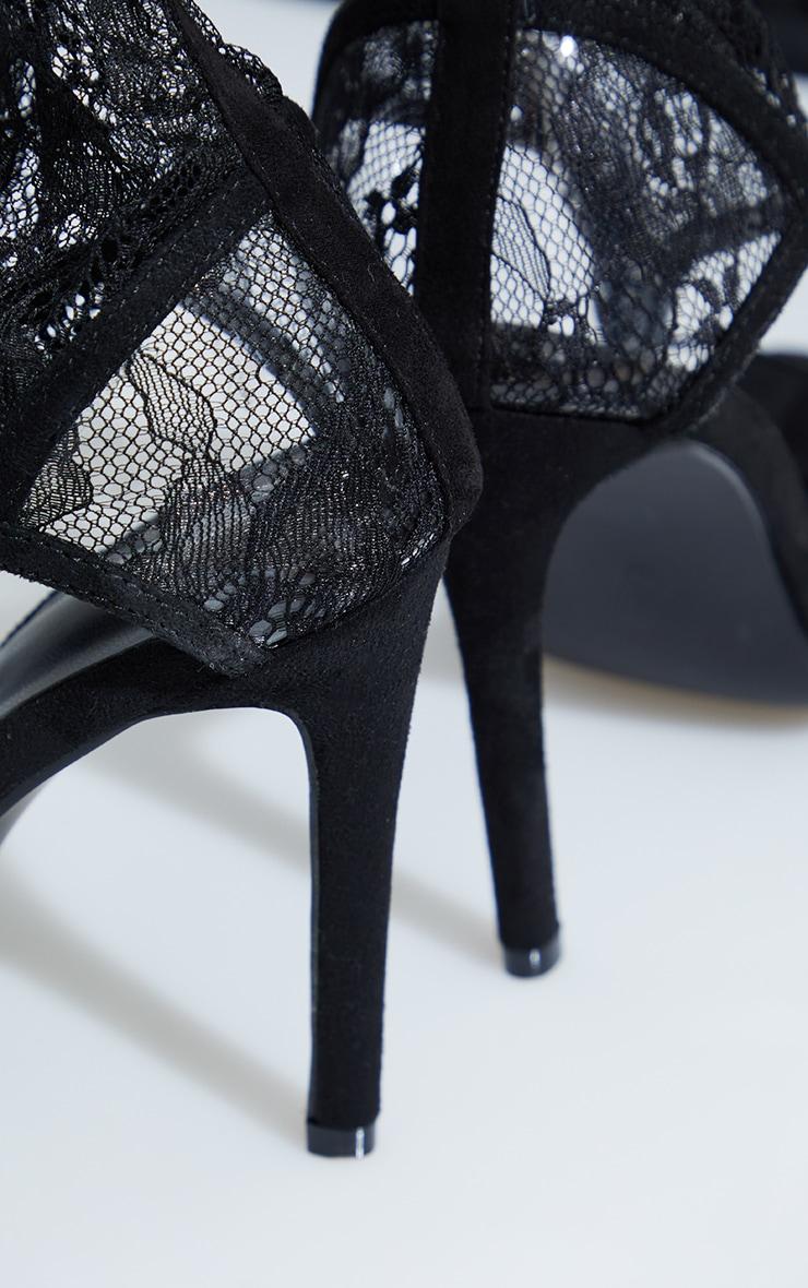 Black Lace Toe Thong Thigh High Heels 4