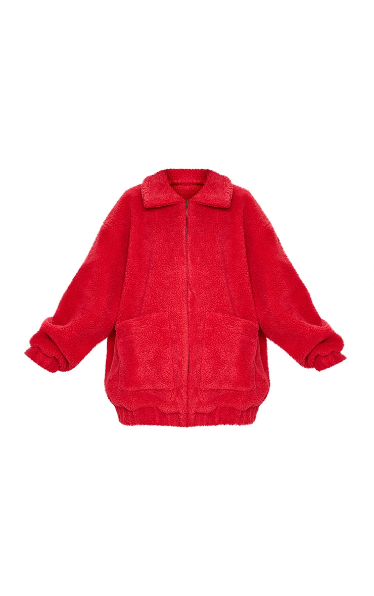 Red Oversized Borg Pocket Front Coat  3
