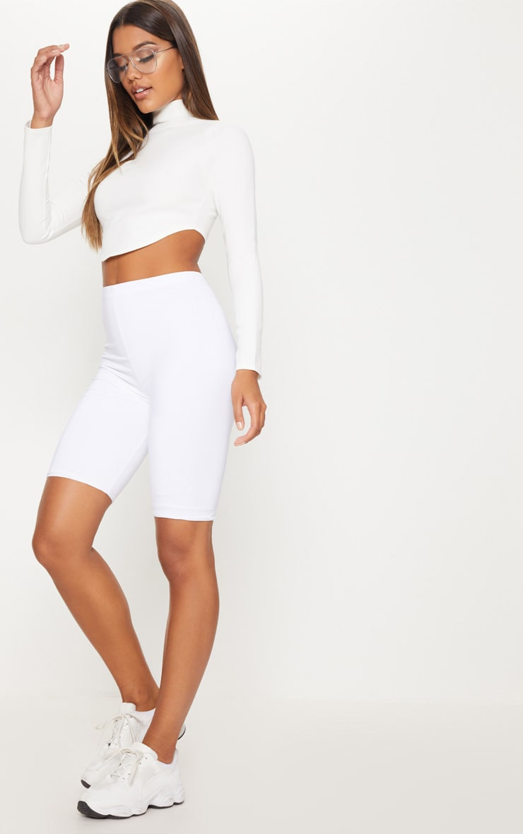 Cream Curve Hem Crop Top  4
