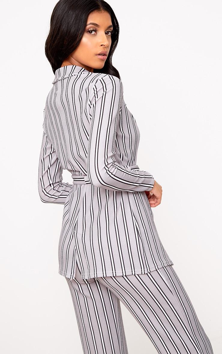 Grey Stripe Belted Blazer 2