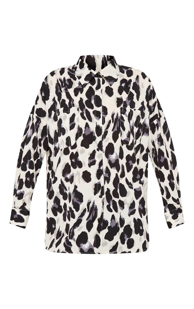 Mono Leopard Print Satin Shirt 3