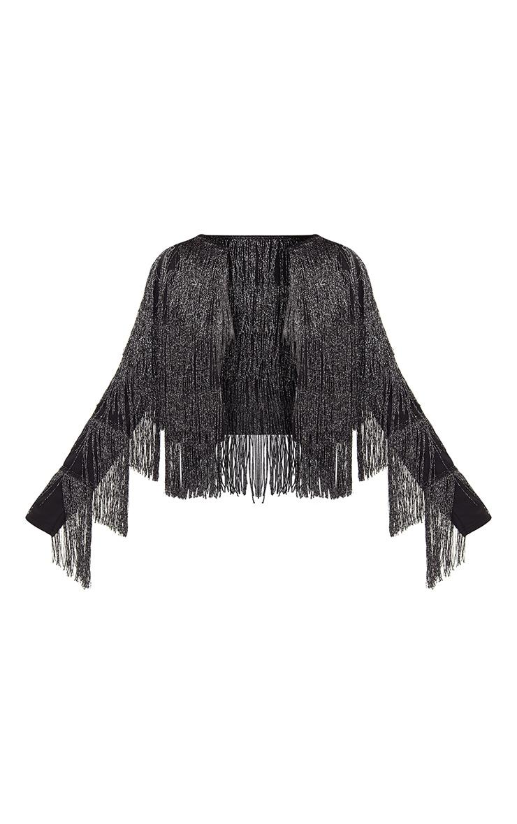 Black Tassel Cropped Jacket  3