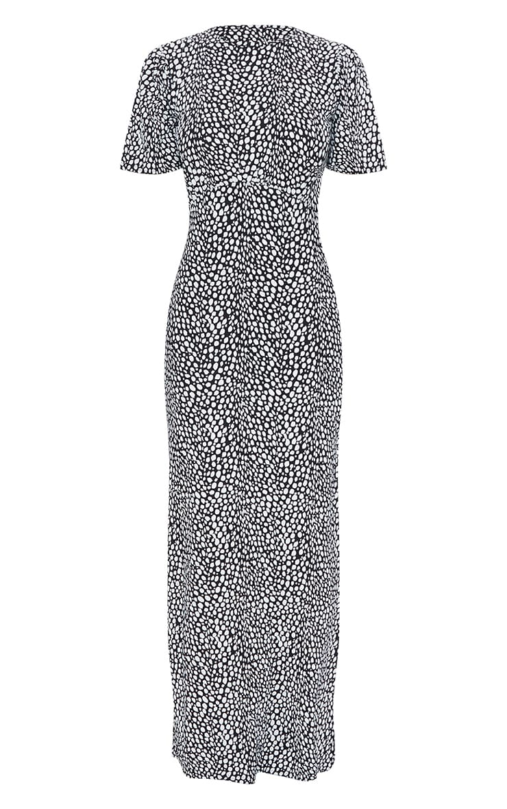 Black Dalmatian Print Ruched Bust Short Sleeve Maxi Dress 5