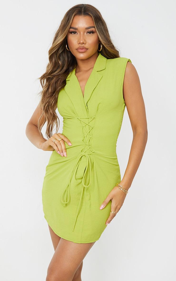 Robe moulante vert citron effet lin à épaulettes et lacets détail sans manches 1