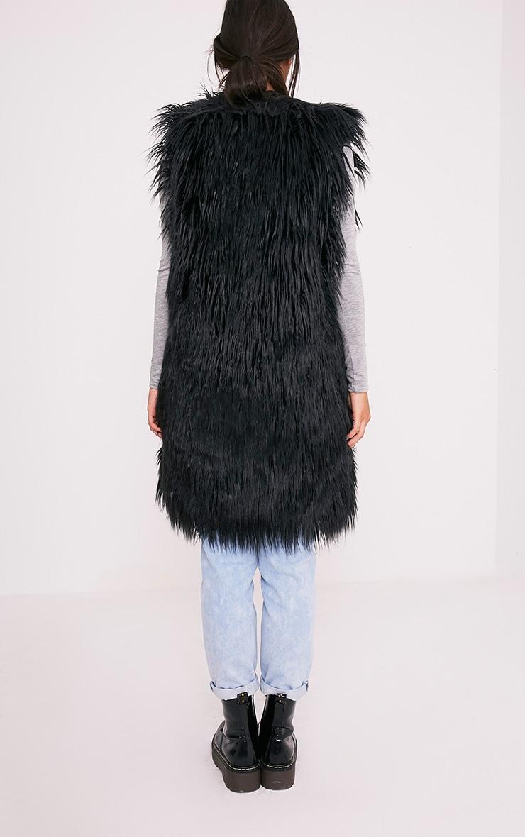 Brogen Black Soft Faux Fur Longline Gilet 2