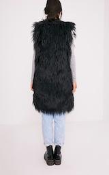 6a048640751948 Brogen veste sans manches longue en fausse fourrure douce noire ...