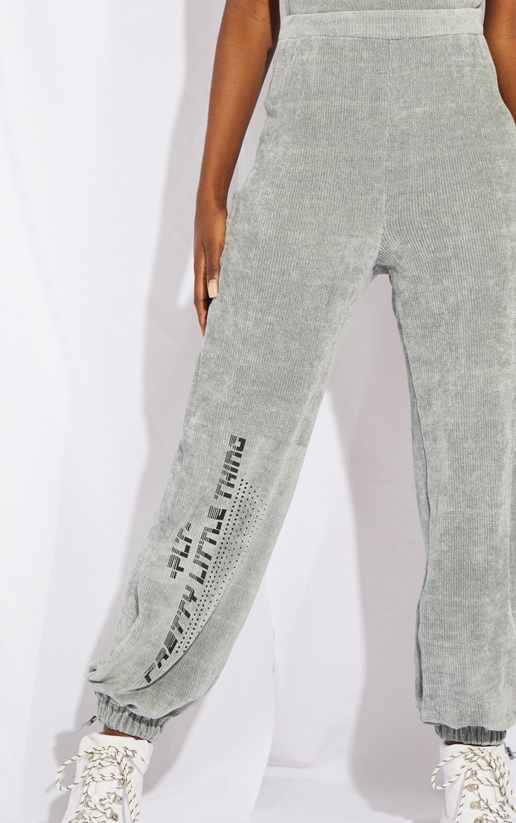 Tall Grey Chenille Oversized Joggers 4