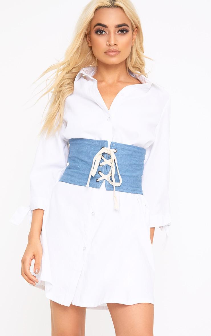 Blue Lace Up Denim Corset Belt 1