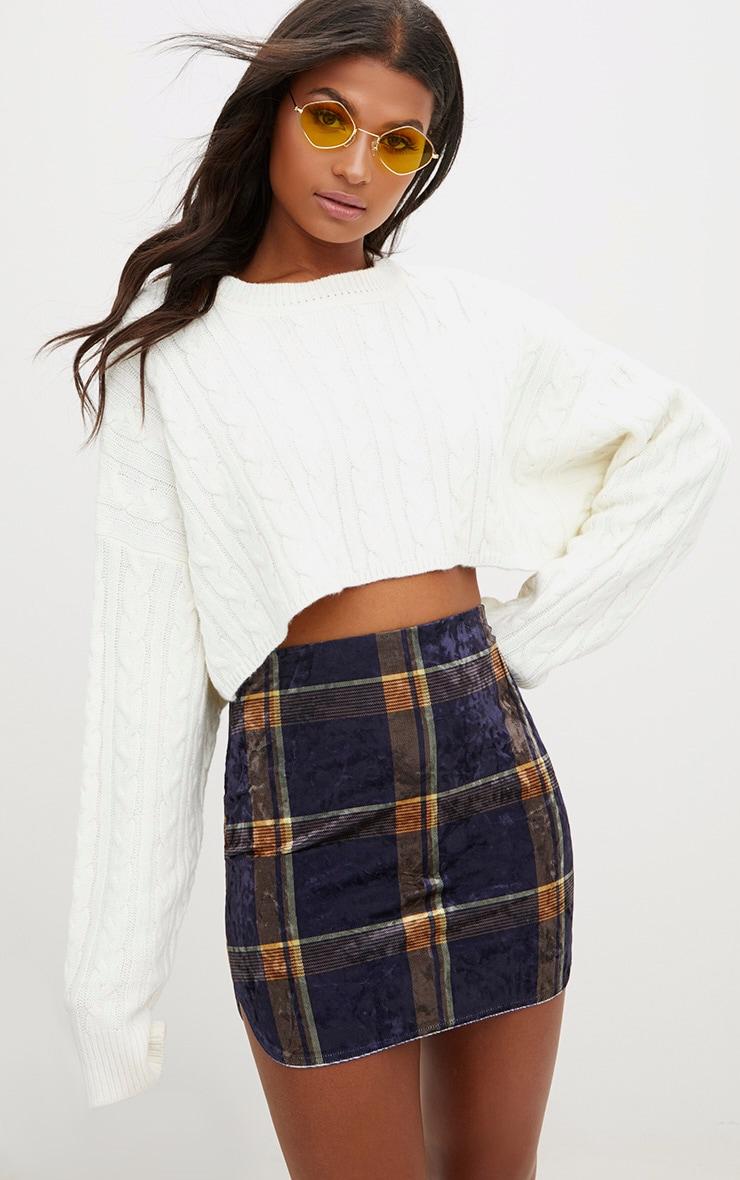 Navy Velvet Check Split Mini Skirt  1
