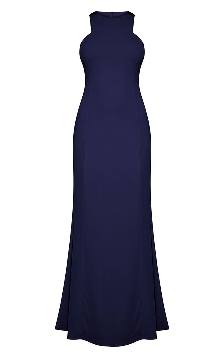 Natalia Navy Racer Neck Crepe Maxi Dress 5