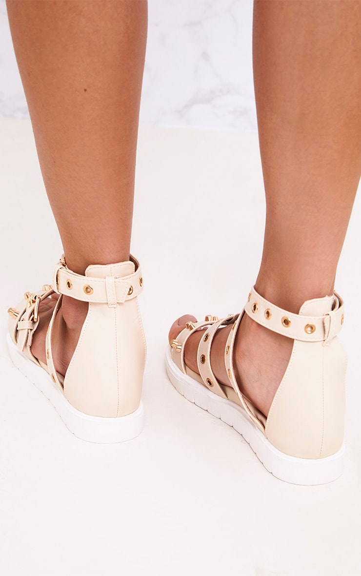 Clarice Nude Studded Gladiator Sandals 3