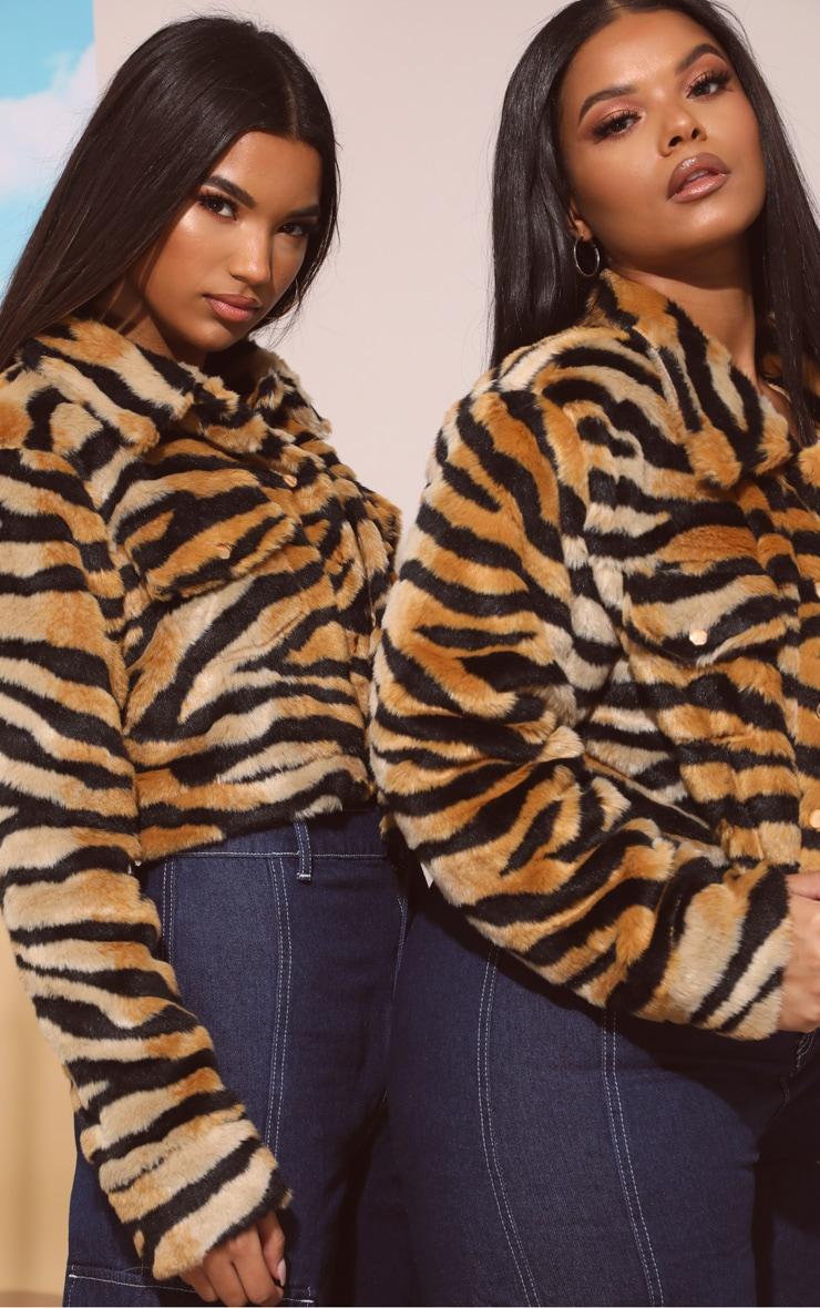 Tiger Print Faux Fur Crop Jacket 7