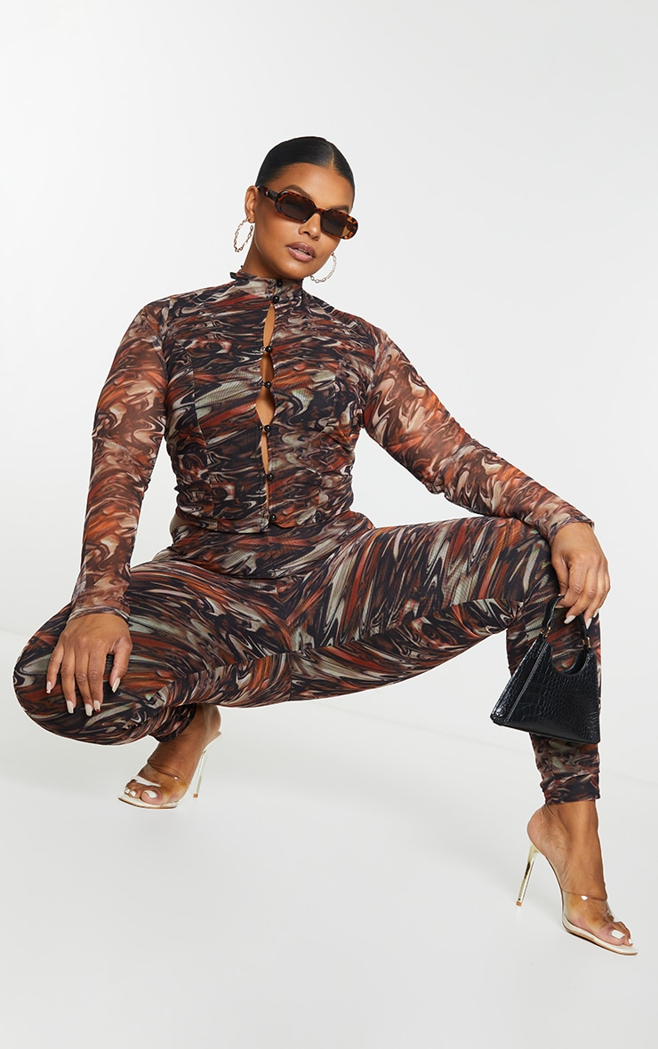 Plus Brown Print Mesh High Neck Button Front  Long Sleeve Top 1
