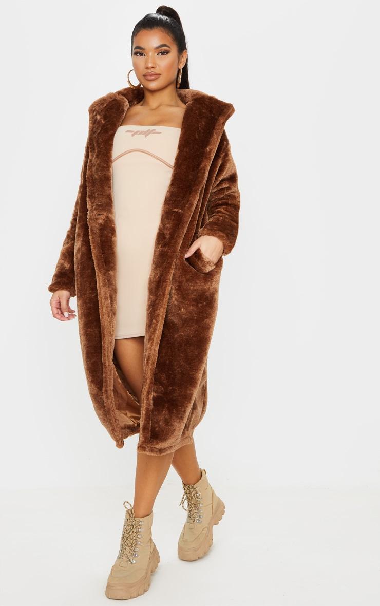 Brown Large Lapel Midaxi Faux Fur Coat 1