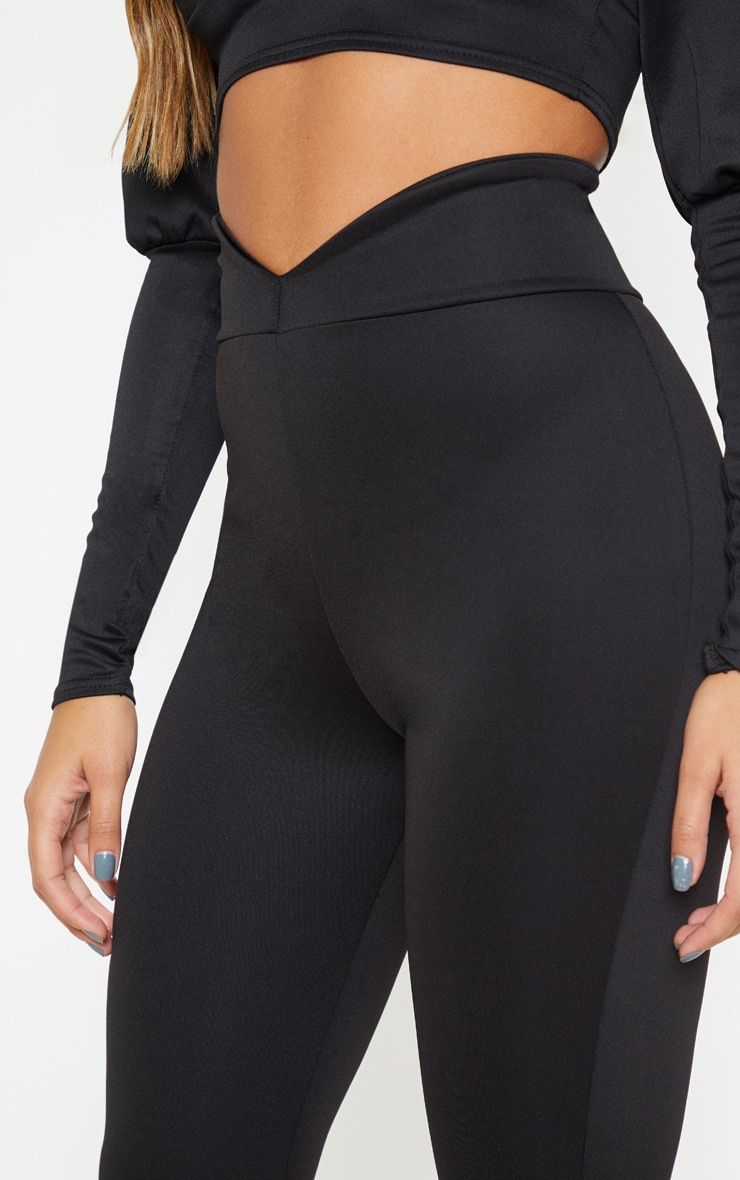 Black Scuba Curve Waist Band Detail Flared Pants  5