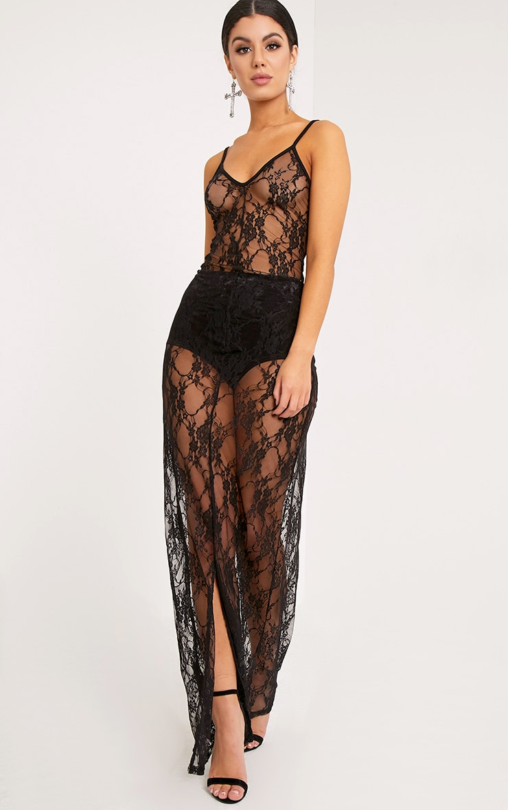 Kelsia Black Lace Plunge Maxi Dress 3