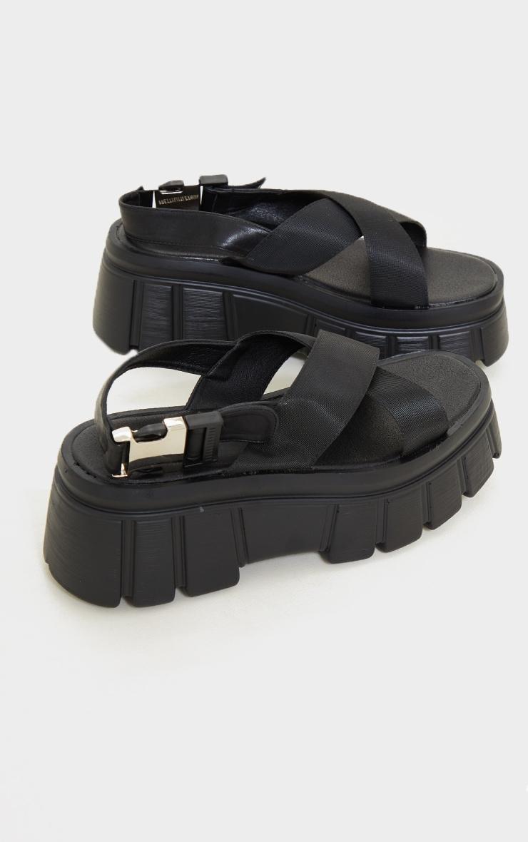 Black Extreme Chunky Sole Nylon Strap  Sandals 4