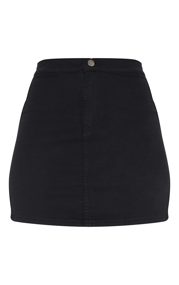 Black Disco Fit Denim Skirt 6