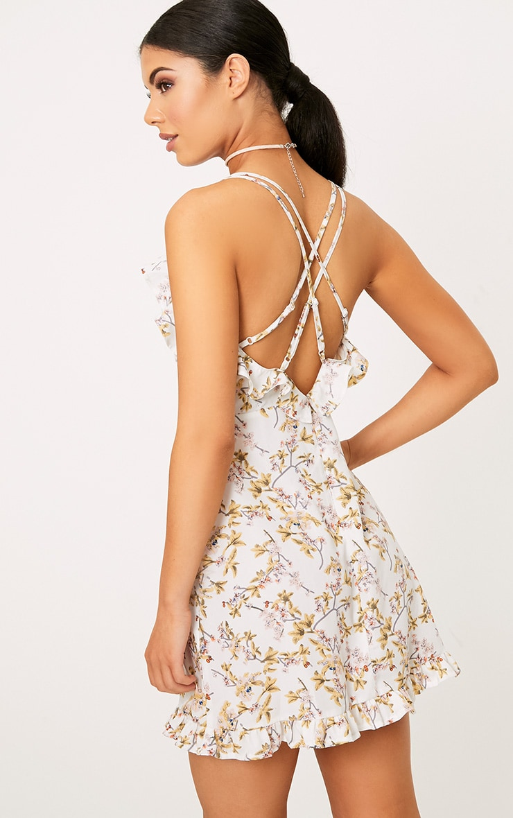 White Printed Frill Strappy Swing Dress  2