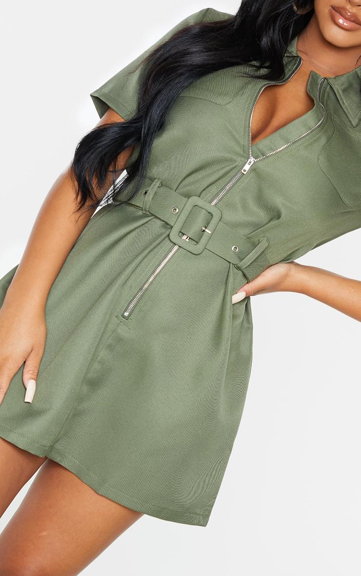 Petite Khaki Zip Detail Belted Utility Dress 5